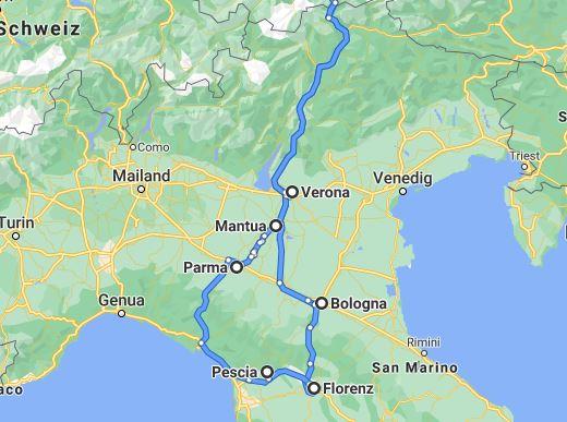 Reiseroute Köln - Emilia Romagna - Toskana Köln: https://goo.gl/maps/3UbNcVesMUM3dveo7